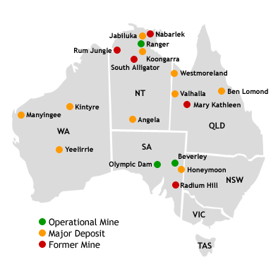 Map of Australian Uranium Deposits