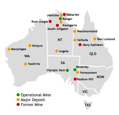 map of australian uranium deposits